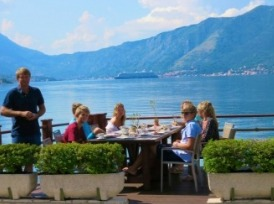 Eating at the Hotel Amfora, Orahovac overlooking the Bay